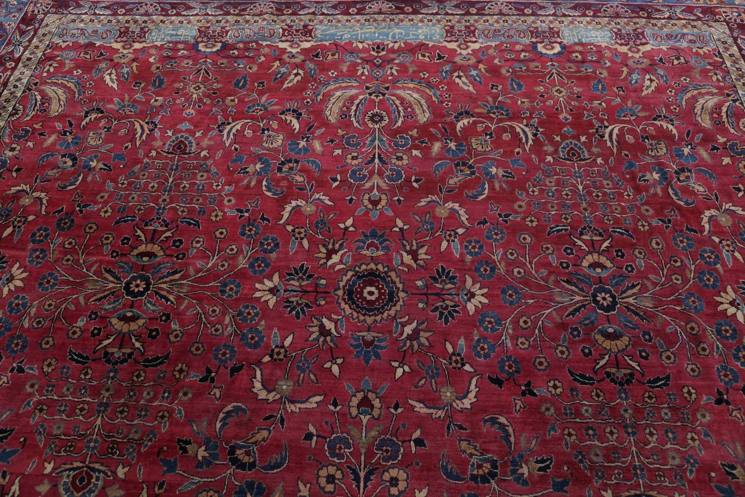 Pre-1900 Antique Floral Sultanabad Persian Hand-Knotted 12x18 Wool Rug image 21