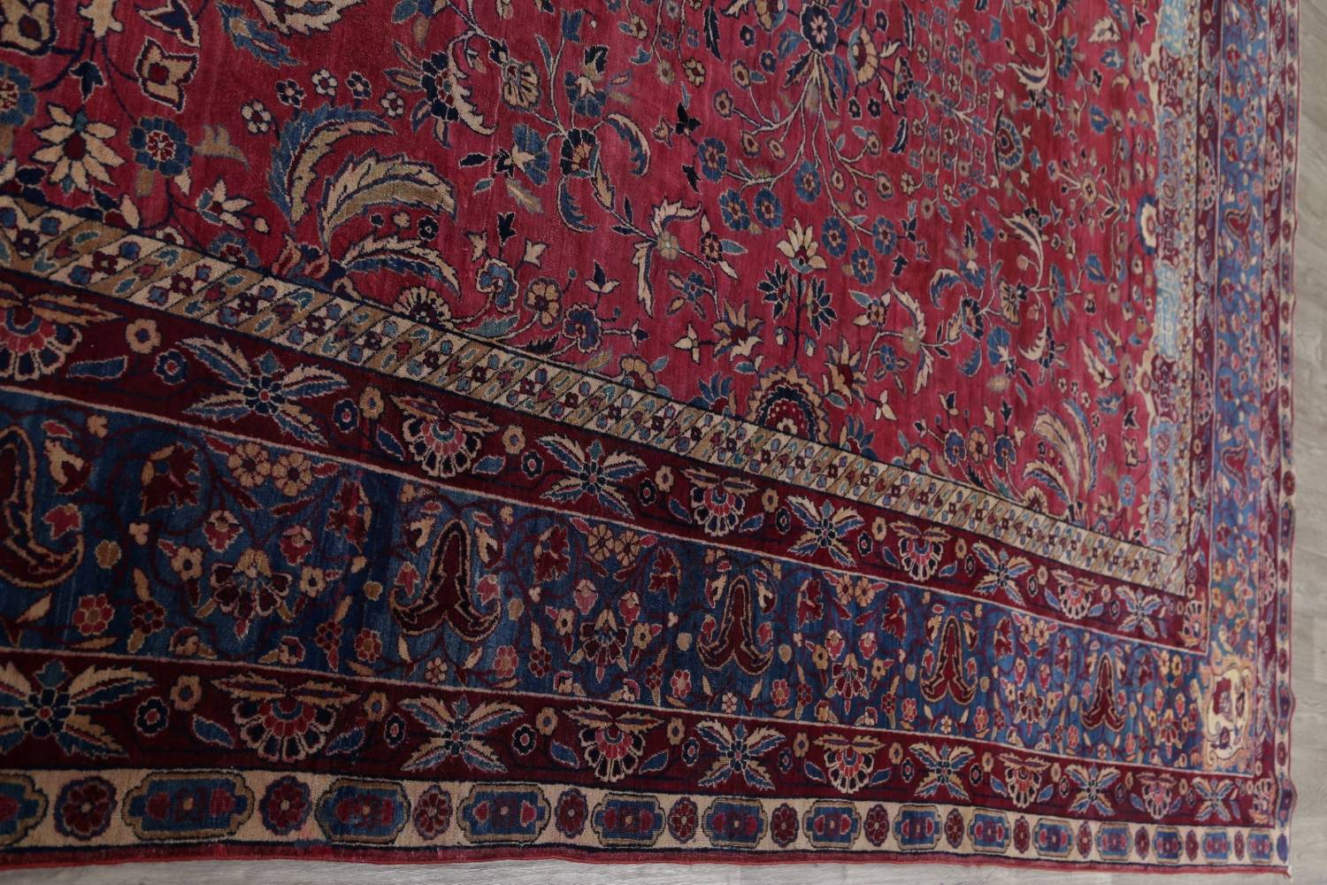Pre-1900 Antique Floral Sultanabad Persian Hand-Knotted 12x18 Wool Rug image 22