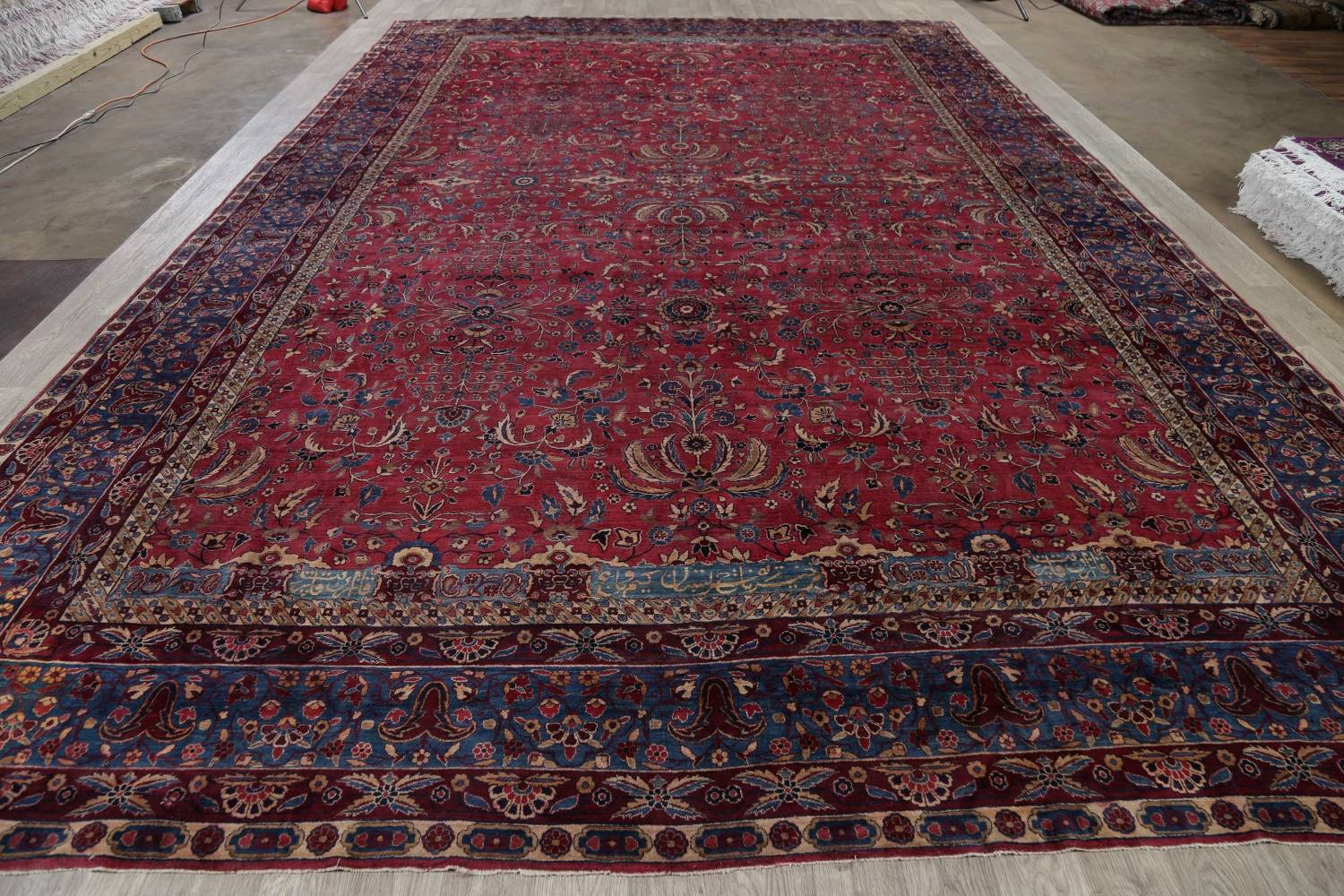 Pre-1900 Antique Floral Sultanabad Persian Hand-Knotted 12x18 Wool Rug image 24