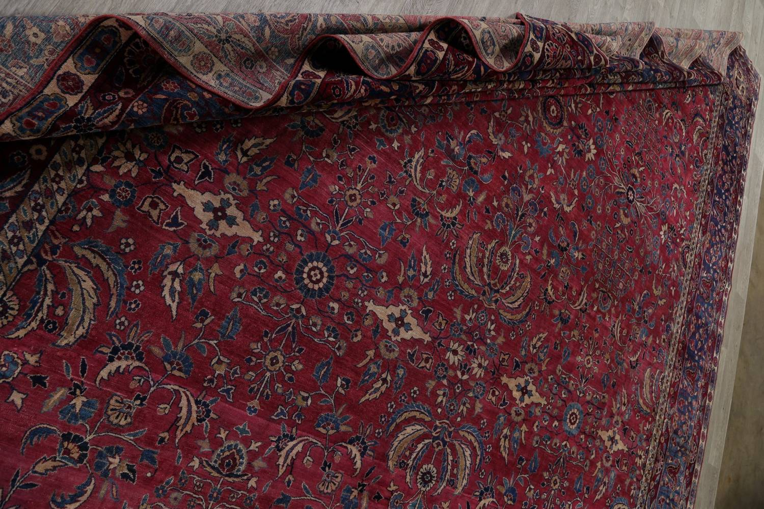Pre-1900 Antique Floral Sultanabad Persian Hand-Knotted 12x18 Wool Rug image 26