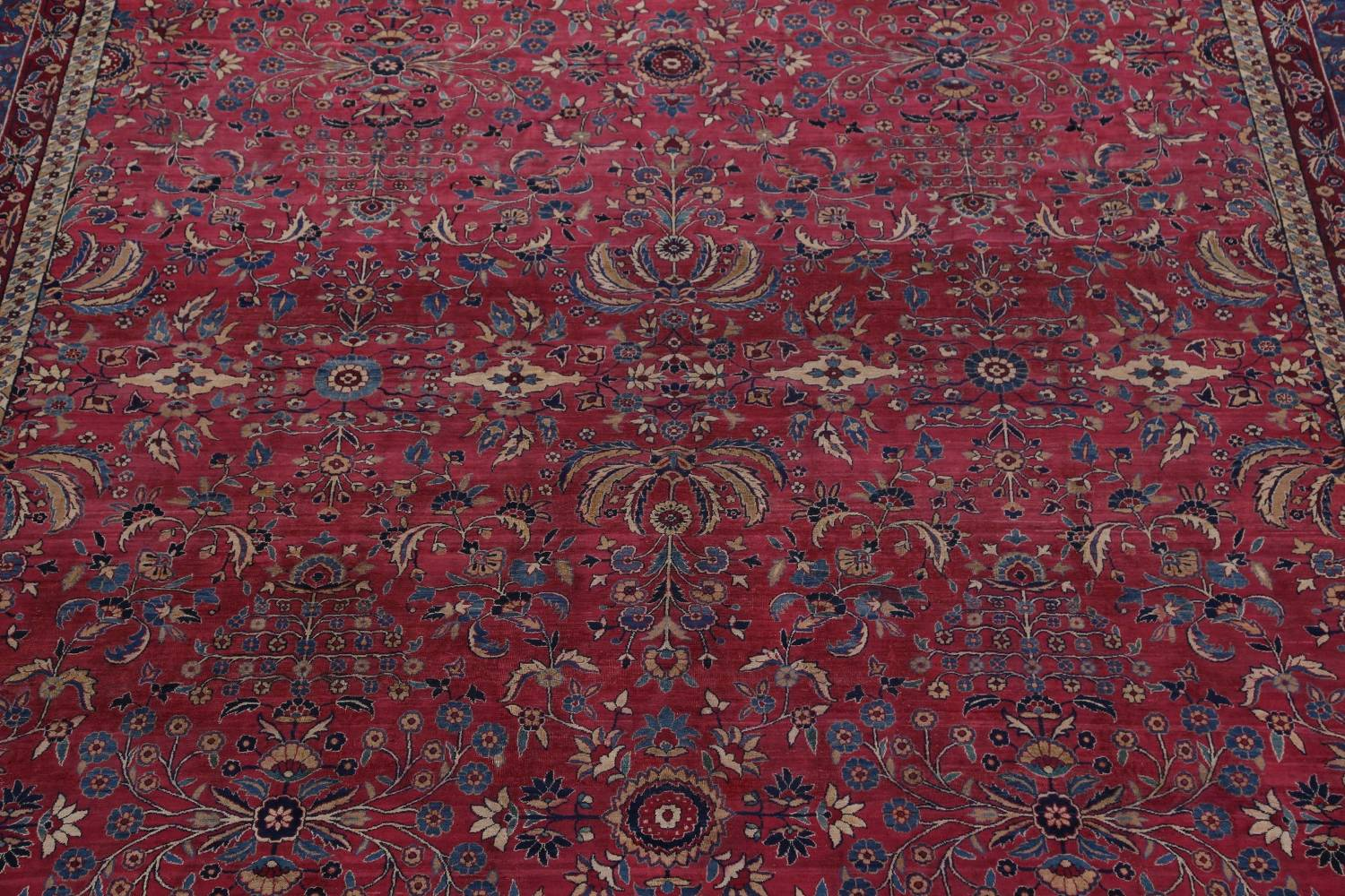 Pre-1900 Antique Floral Sultanabad Persian Hand-Knotted 12x18 Wool Rug image 4