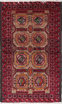 Geometric Balouch Persian Hand-Knotted 2x4 Wool Rug
