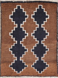 Geometric Navy Blue Gabbeh Persian Hand-Knotted 2x3 Wool Rug
