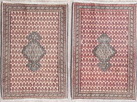 Set Of 2 Paisley Boteh Sarouk Persian Hand-Knotted 2x3 Wool Rugs