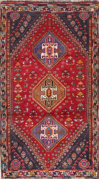 Tribal Geometric Red Abadeh Persian Hand-Knotted 3x5 Wool Rug