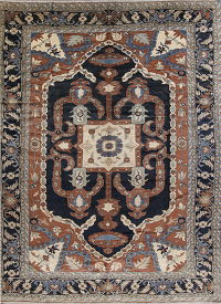 Floral Navy Blue Heriz Persian Hand-Knotted 14x18 Wool Rug