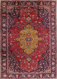 Geometric Tabriz Persian Hand-Knotted 9x13 Wool Area Rug