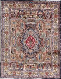 Pictorial Kashmar Persian Hand-Knotted 10x13 Wool Area Rug