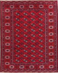 Geometric Red Balouch Persian Hand-Knotted 10x13 Wool Area Rug