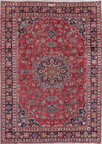 Traditional Floral Mashad Persian Hand-Knotted 8x11 Wool Area Rug