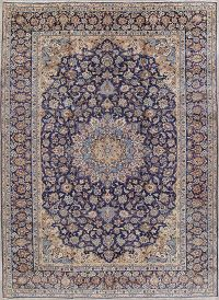 Floral Navy Blue Najafabad Persian Hand-Knotted 10x14 Wool Area Rug