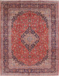 Traditional Floral Kashan Persian Hand-Knotted 10x13 Wool Area Rug