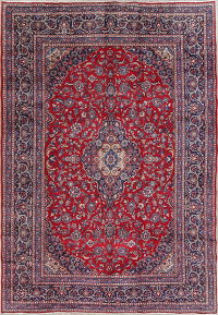 Traditional Floral Mashad Persian Hand-Knotted 8x12 Wool Area Rug