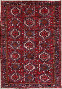 Geometric Red Gharajeh Persian Hand-Knotted 8x12 Wool Area Rug