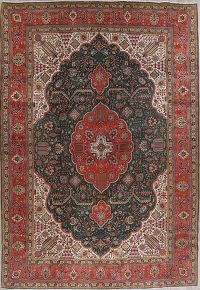 Vegetable Dye Green Tabriz Persian Hand-Knotted 12x17 Wool Rug