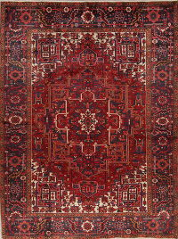 Geometric Red Heriz Persian Hand-Knotted 9x11 Wool Area Rug