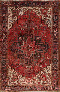 Geometric Red Heriz Persian Hand-Knotted 8x13 Wool Area Rug