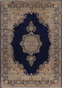 Floral Navy Blue Kerman Persian Hand-Knotted 8x11 Wool Area Rug