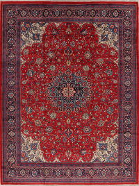 Floral Red Mahal Persian Hand-Knotted 10x13 Wool Area Rug