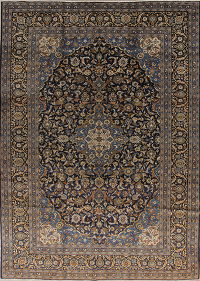 Floral Navy Blue Kashmar Persian Hand-Knotted 10x13 Wool Area Rug