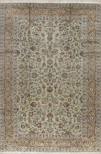 Floral Green Kashan Persian Hand-Knotted 8x12 Wool Area Rug