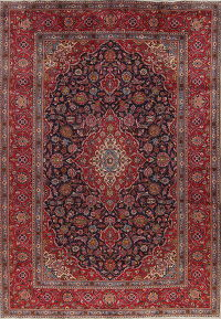 Traditional Floral Kashan Persian Hand-Knotted 8x11 Wool Area Rug