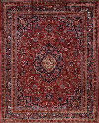 Antique Vegetable Dye Mashad Persian Hand-Knotted 10x12 Wool Area Rug