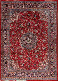Floral Red Sarouk Persian Hand-Knotted 10x13 Wool Area Rug