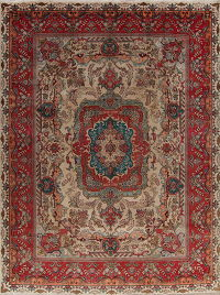 Floral Brown Tabriz Persian Hand-Knotted 10x13 Wool Area Rug