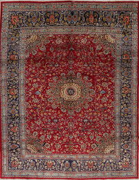 Floral Red Kashmar Persian Hand-Knotted 10x13 Wool Area Rug