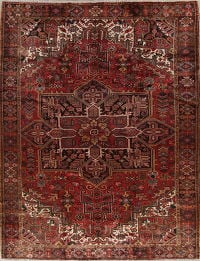 Geometric Red Heriz Persian Hand-Knotted 10x12 Wool Area Rug