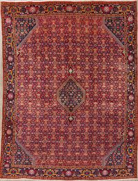Geometric Red Bidjar Persian Hand-Knotted 10x13 Wool Area Rug