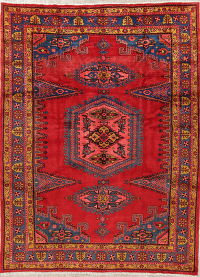 Geometric Red Viss Persian Hand-Knotted 8x11 Wool Area Rug