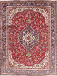 Geometric Red Tabriz Persian Hand-Knotted 10x13 Wool Area Rug