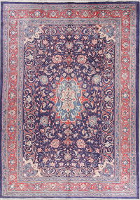Floral Navy Blue Mahal Persian Hand-Knotted 8x11 Wool Area Rug