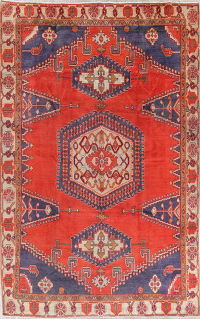 Geometric Red Viss Persian Hand-Knotted 8x12 Wool Area Rug