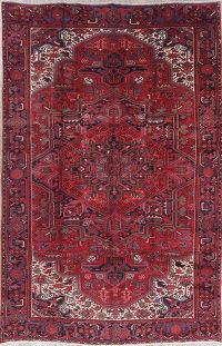 Geometric Red Heriz Persian Hand-Knotted 8x12 Wool Area Rug
