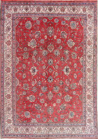 Floral Red Sarouk Persian Hand-Knotted 9x12 Wool Area Rug