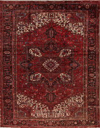 Geometric Red Heriz Persian Hand-Knotted 9x12 Wool Area Rug
