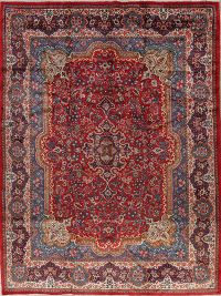 Floral Red Mahal Persian Hand-Knotted 10x14 Wool Area Rug