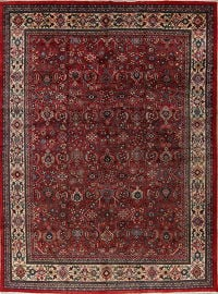 Geometric Red Mahal Persian Hand-Knotted 10x14 Wool Area Rug