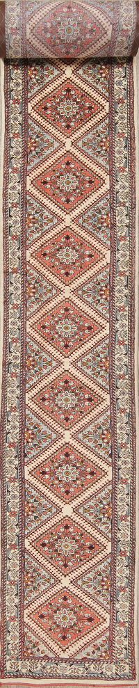 Floral Malayer Hamedan Persian Hand-Knotted 3x33 Wool Runner Rug