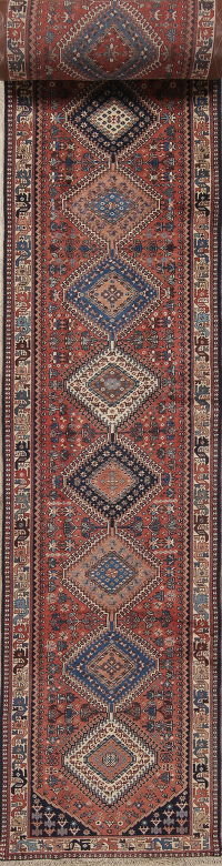 Geometric Yalameh Persian Hand-Knotted 3x33 Wool Runner Rug