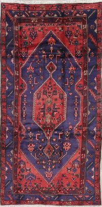 Geometric Blue Hamedan Persian Hand-Knotted 4x9 Wool Runner Rug