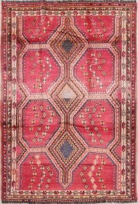 Geometric Red Lori Persian Hand-Knotted 6x8 Wool Area Rug