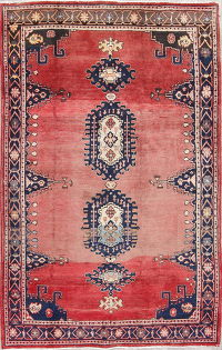 Geometric Red Viss Persian Hand-Knotted 5x7 Wool Area Rug