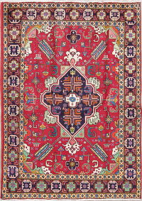 Geometric Red Tabriz Persian Hand-Knotted 5x7 Wool Area Rug