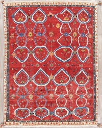 All-Over Red Gabbeh Qashqai Persian Hand-Knotted 5x7 Wool Area Rug