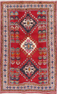 Tribal Geometric Kashkoli Persian Hand-Knotted 5x8 Wool Area Rug