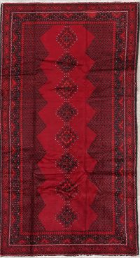 Geometric Red Balouch Persian Hand-Knotted 4x8 Wool Runner Rug